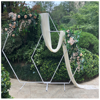 Hexagon Wedding Arch Diamond Wrought Iron Party Background Frame Decoration DIY Party Path Artificial Flower Frame Decoration