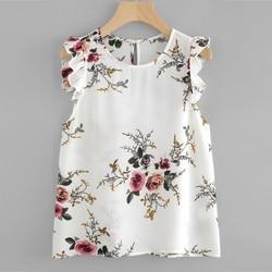 Women Vest Summer Tank Top Floral Print Butterfly Sleeve Blouse Crop Tops Vest Tank Chiffon O Neck Women Tank Tops Camis NEW