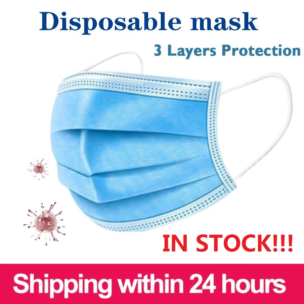 50pcs/100pcs Disposable Mask Mouth Mask Non-woven Three-layer Mouth Mask Elastic Ear Loop Disposable Dust Filter Safety Mask