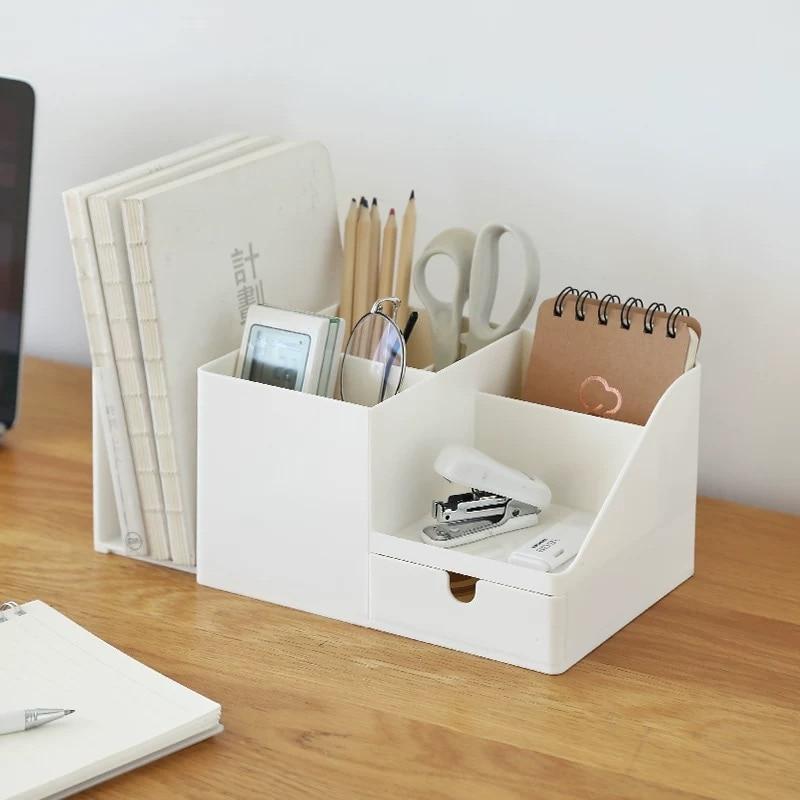 2020 Sharkbang ABS Desk Office Organizer Storage Holder Desktop Pencil Pen Sundries Badge Box Stationery Office School Supplies 2