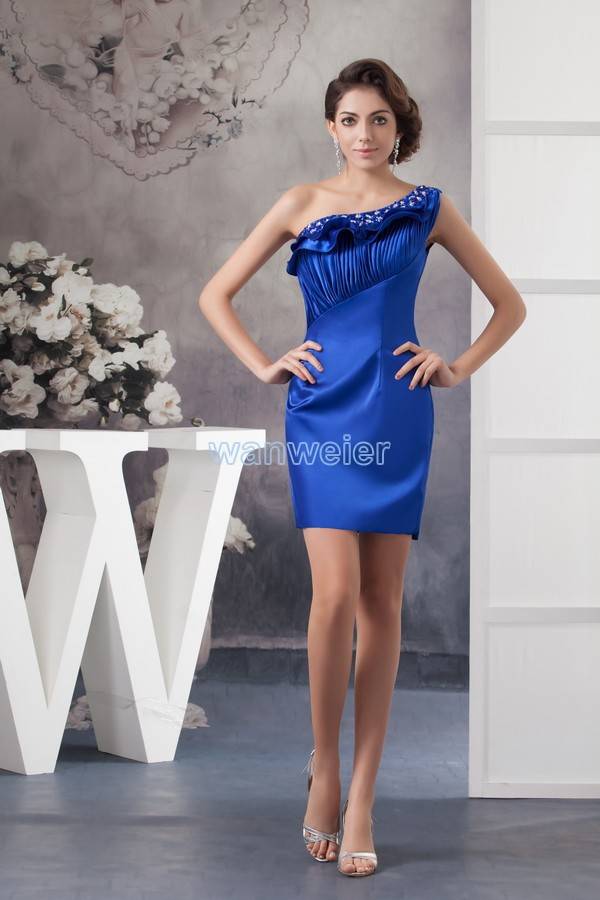 Free Shipping 2018 New Design One Shoulder Women's Formal Gown Blue Custom Size Crystal Short Bridesmaid Dresses