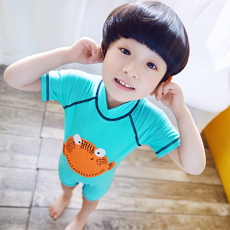 New Style KID'S Swimwear Sky Blue Turbot Fish One-piece BOY'S Swimsuit Sun-resistant KID'S Swimwear