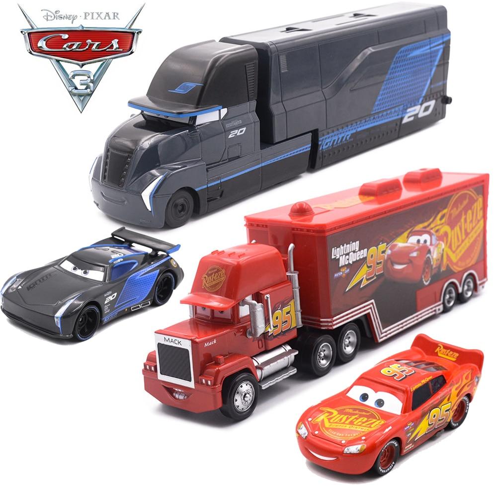 Disney Pixar Cars 3 Metal Car Toy Storm Jackson Lighting McQueen Mack Truck Golden Curz Toy Vehicles Kid Christmas Birthday Gift