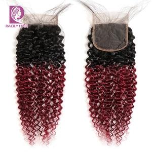 Image 4 - Racily שיער Ombre ברזילאי קינקי מתולתל סגירת חום T1B/30 4x4 רמי שיער טבעי תחרה סגר עם תינוק שיער שלושה התיכון חלק