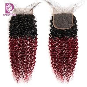 Image 4 - Racily Tóc Ombre Brasil Kinky Xoăn Đóng Cửa Nâu T1B/30 4X4 Remy Tóc Ren Đóng Cửa Với tóc Cho Bé Ba Phần Giữa