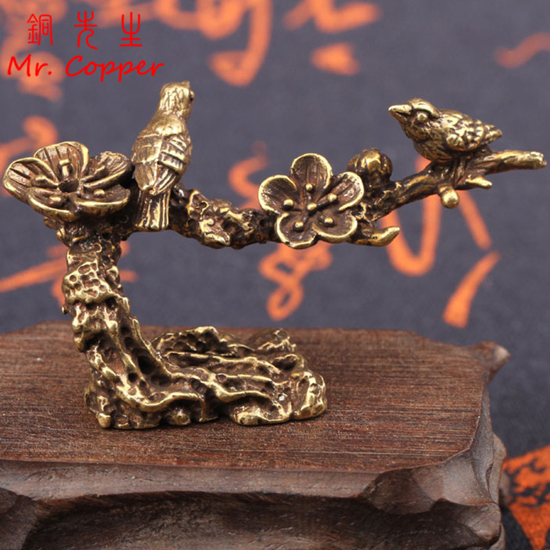 Pure Copper Plum Tree Happy Magpie Bird Miniature Ornaments Antique Brass Cuckoo Figurine Tea Table Decorations Desk Decor Craft