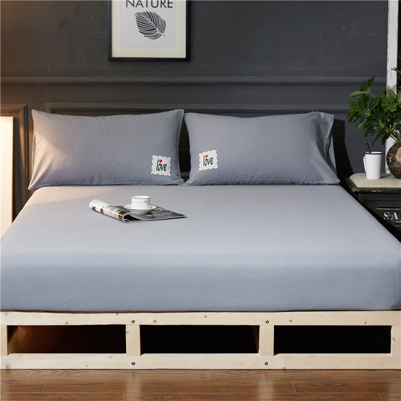 Elastic Rubber sheet fitted bed cover 3pcs/set summer bed sheet set 180*220cm 200*220cm home bedding solid modern mattress cover pillowcase|Bedding Sets| |  - title=
