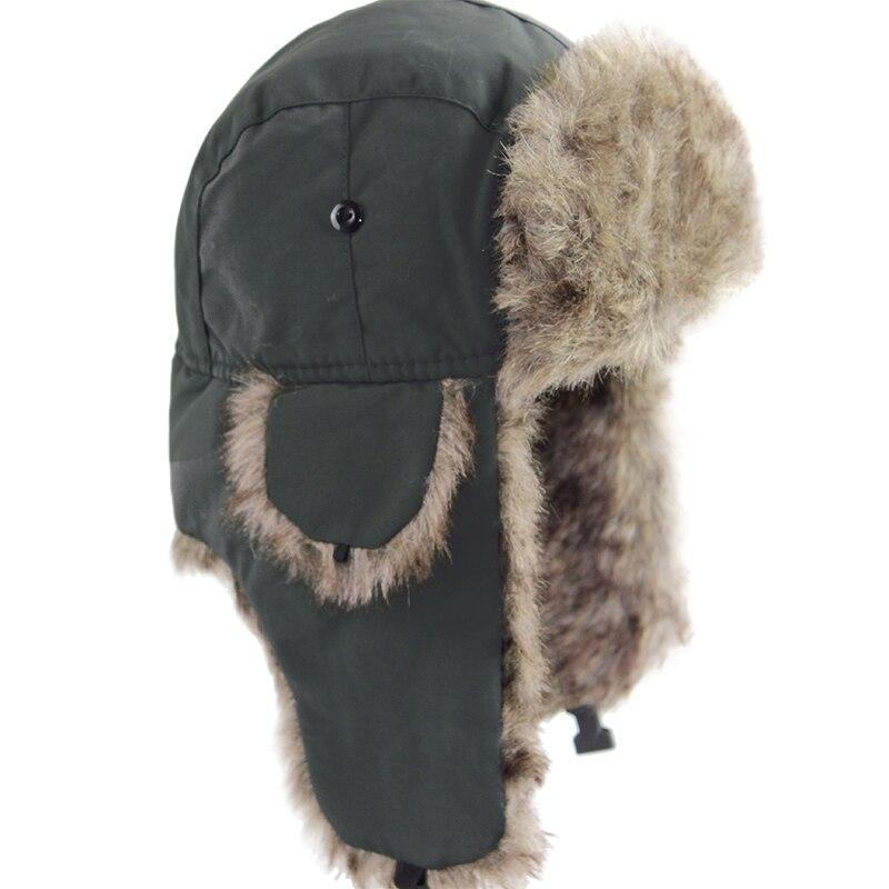 Unisex Men Women Russian Hat Trapper Bomber Warm Ear Flaps Winter Ski Hat Cap Headwear Solid Fluffy Faux Fur Bonnet