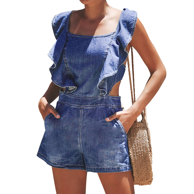 Summer Backless Ruffles Short Rompers For Women Denim Jumpsuit Jeans Women Denim Rompers Sleeveless Sexy Denim Short  Jumpsuits