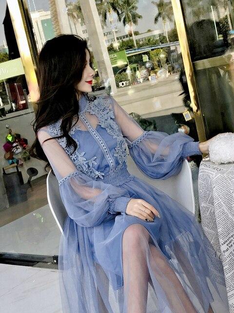 New Arrivals Women Lace Flower Dress Gauze Lantern Sleeve Voile Long Dress Female Retro Hook Princess Dress 2 Piece Set 4