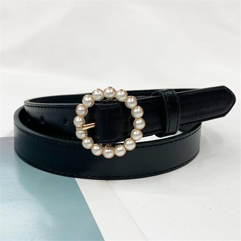 Luxury Brand Belt Waistband Woman Pearl Gold Buckle Leather Belts For Women Jeans Fashion Girls Ladies Waist Ceinture Femme Blac