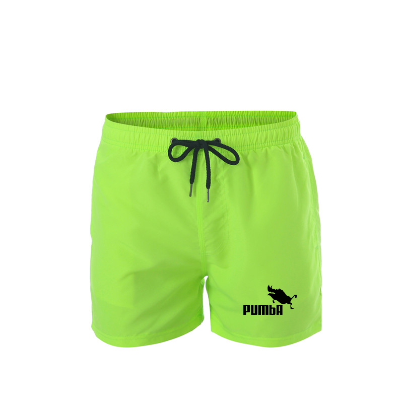 New Brand PUMBA Leisure Fluorescent Compression Shorts Men's Polyester High Elastic Waist Sports Shorts Fitness Men's Boxing