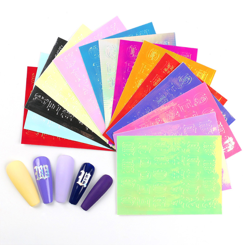 16pcs Nail Art Letter Sticker English Letter Nails Slider Decorations Accessoires Manicure Foil Adhesive Wraps Polish