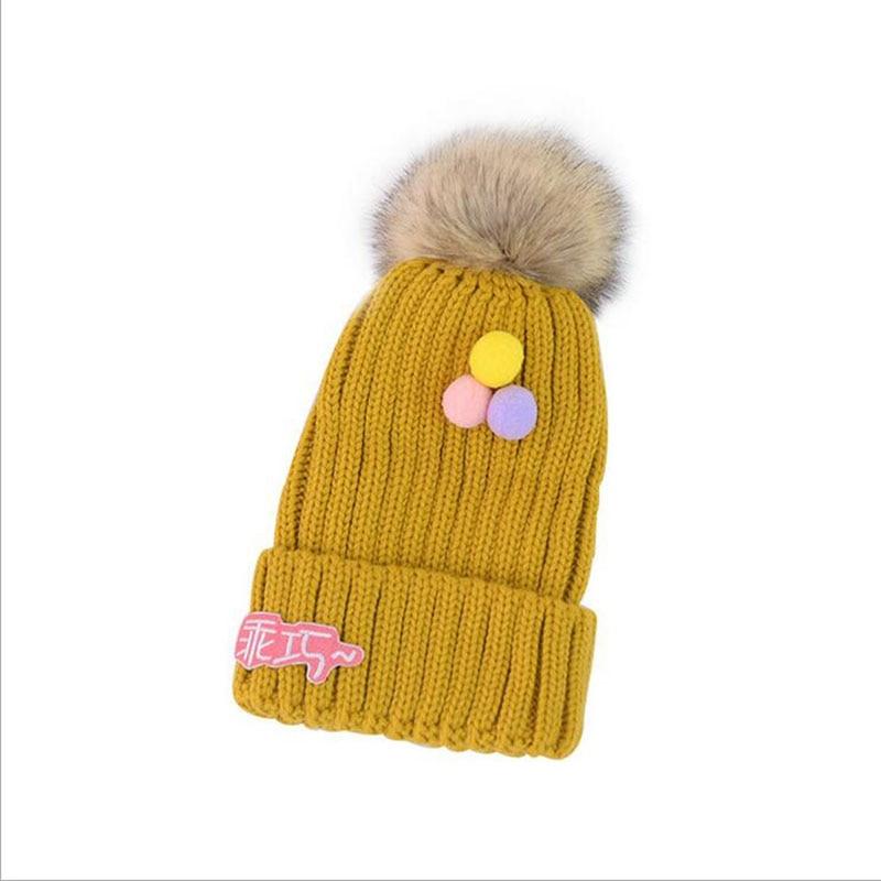 SUOGRY 2019 Girl Pom Pom Beanies Warm Knitted Kids Fur Pompom Hat Children Fur Winter Twist Stripes Hat Cap Skullies in Men 39 s Skullies amp Beanies from Apparel Accessories
