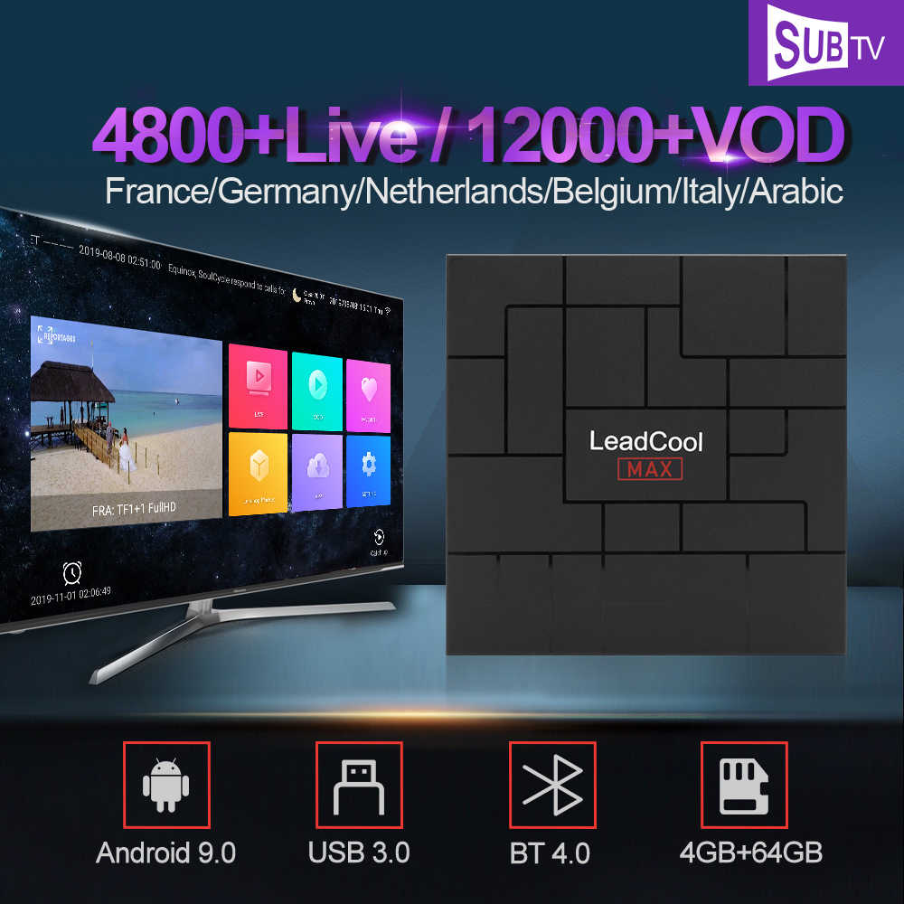 Iptv צרפת ערבית ספרד איטליה SUBTV IPTV מנוי Leadcool מקסימום אנדרואיד 9.0 4G 64G בלגיה הולנד שוודיה סט תיבה עליונה
