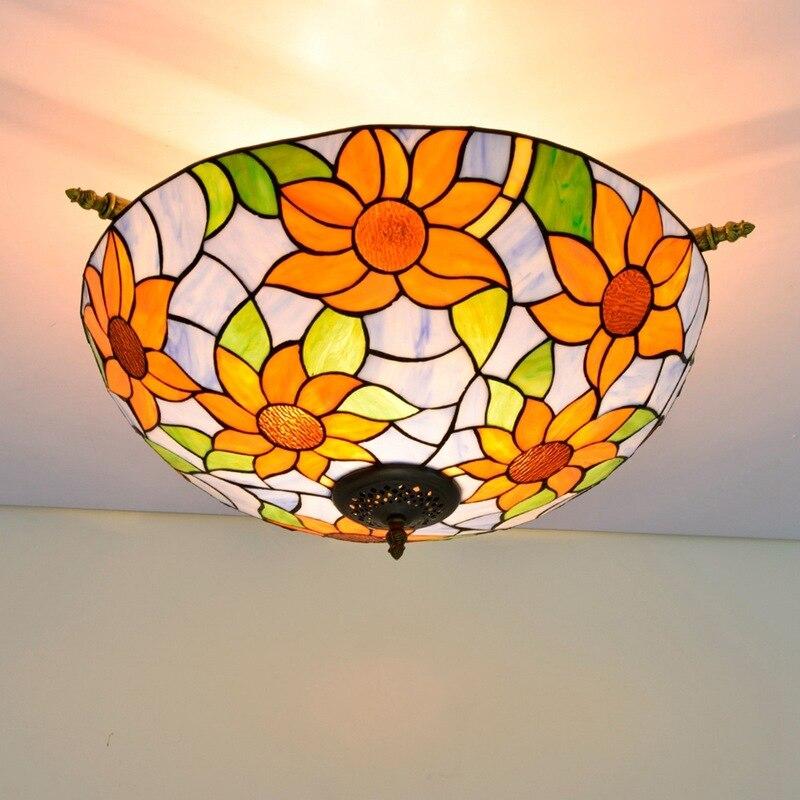 55cm color glass living room dining room bar bedroom art half ceiling light blue sunflower Tiffany