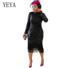 YEYA Stylish Elegant New High-elastic Sequin Tassel Dress Sexy O-neck Long Sleeve Hollow Out Club Vestidos Lady Party Dress stylish rhinestone hollow out elastic bracelet for women