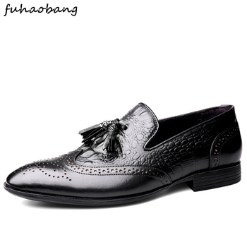 Men Business Dress Shoes brogue Genuine Leather Brock Retro Gentleman party Shoes Formal Carved Bullock Shoes for Men wedding