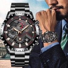 LIGE New Mens Watches Stainless Steel Waterproof Watch Men Fashion Sport Quartz