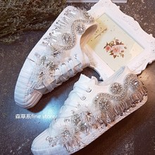 2019 New European Station Korean lace-up rhinestone beaded sequins low top canvas