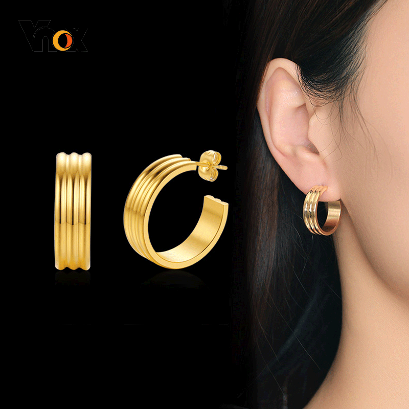 Vnox Women Gold Tone Stainless Steel Hoop Earrings For Female Lady Party Gifts For Her Jewelry