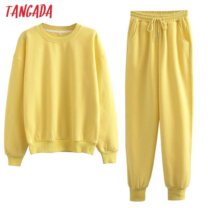 Ha55c6af50cc24e1bafb78c6026bedaffr Tangada 2020 Autumn Winter Women warm yellow fleece 100% cotton suit 2 pieces sets o neck hoodies sweatshirt pants suits 6L24