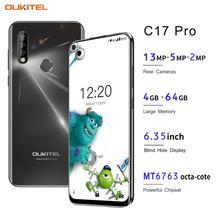 OUKITEL C17 Pro 6.35 Android 9.0 4GB 64GB Smartphone 19:9 MT6763 CPU parmak izi yüz kimliği Octa çekirdek 3900mAh 4G cep telefonu