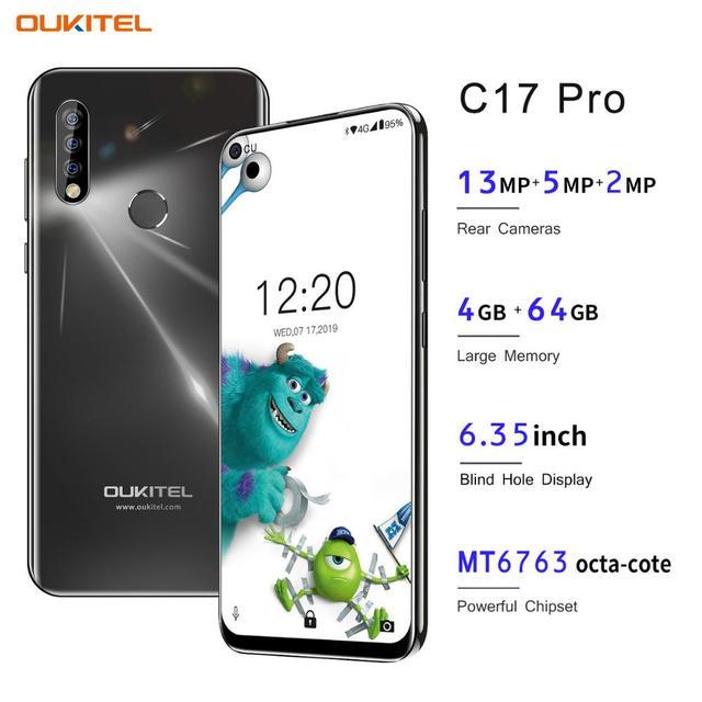OUKITEL C17 Pro 6.35 Android 9.0 4GB 64GB Điện Thoại Thông Minh 19:9 MT6763 CPU Vân Tay Mặt ID Octa Core 3900MAh 4G Di Động