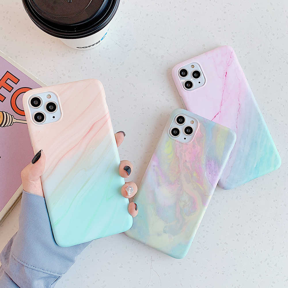 Vintage Gradient Marmer Ponsel Case untuk iPhone SE 11 11Pro Max XR X XS Max 7 8 6 6S plus Lembut IMD Colorful Back Cover Coque Hadiah