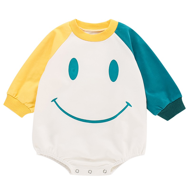 New Newborn Bodysuit Baby Girls Boys Clothes Long Sleeve Cartoon Smile Print Bodysuits Autumn Infant Sweatshirts Kids Clothes