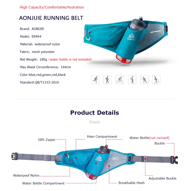 running - AONIJIE Sports Waist Packs Running Belt Water Belt Pack For Marathon Jogging Cycling Hydration With Bottle E849