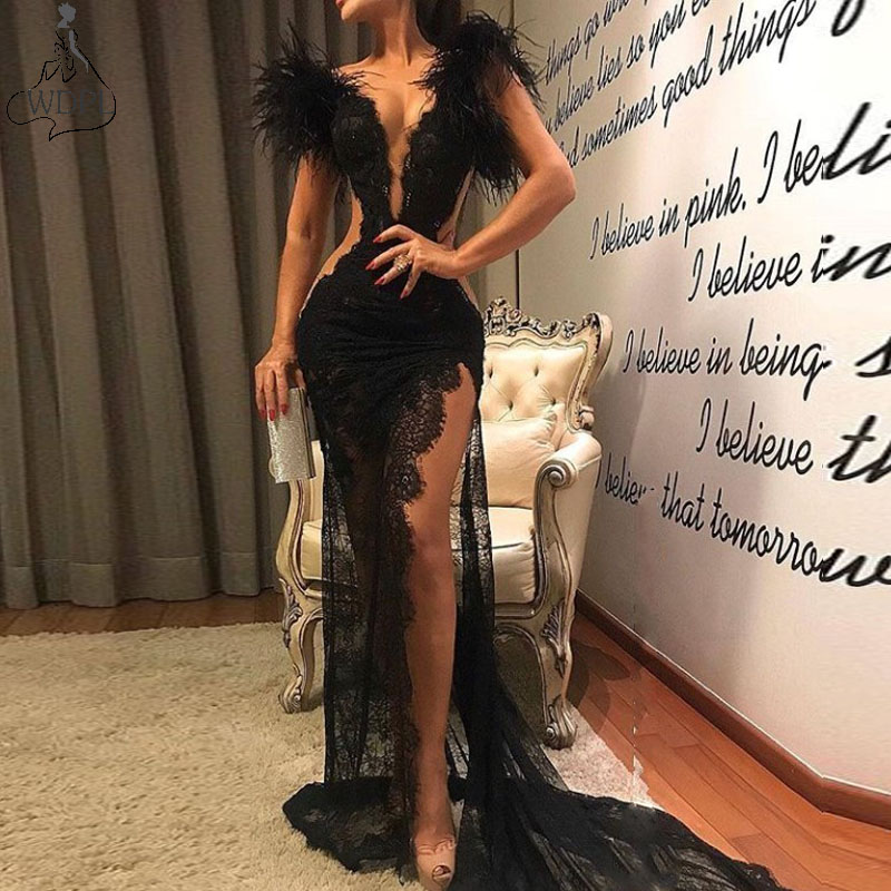 Sexy Slit Black Lace Evening Dress See Through V Neck Feathers Mermaid Prom Gowns Customized Special Occasion Formal Dress Cheap