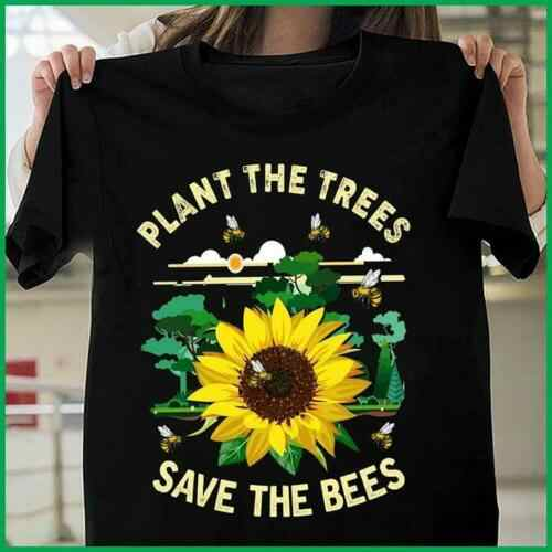 Sunflower Hippie Plant The Trees Save The Bees T Shirt Black Cotton Men S-6XL Cool Casual pride t shirt men Unisex Fashion