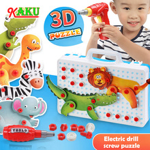 Toy Assembling Screw-Group-Nut Electric-Drill Creative Kids DIY World-Puzzle Gift Animal