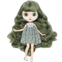 Gelo dbs blyth boneca pele branca corpo comum novo fosco rosto verde cor mista cachos cabelos diy sd presente brinquedo