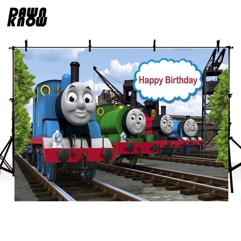 DAWNKNOW Cartoon Vinyl Photography Background For Birthday Train Polyester Backdrops Children Photo Studio Props G050