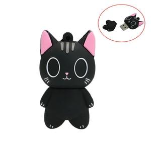 Personalized Pendrive Black Cat USB flash drive 256 128 64 gb Memoria usb 8 16 32 gb Silicone cle usb 2.0 4GB 8GB 32GB Pen drive