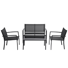 4 Pieces Patio Furniture Set Outdoor Garden Patio Conversation Sets Poolside Lawn Chairs With Glass Coffee Table Porch Furniture cheap CN(Origin) Modern Minimalist Modern Other