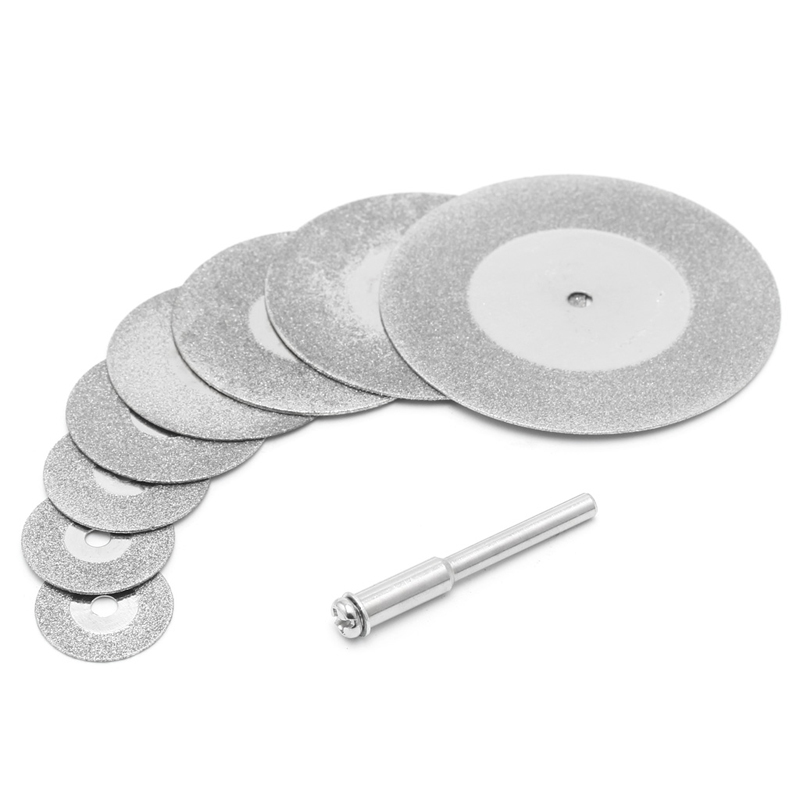 BENGU 5pcs 16mm-50mm Diamonte Cutting Discs & Drill Bit Shank For Rotary Tool Blade