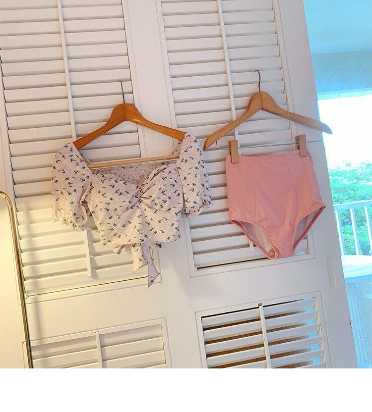 Swimwear Bikini-Set Two-Pieces Korean-Style High-Waist Women Beach-Suit Print