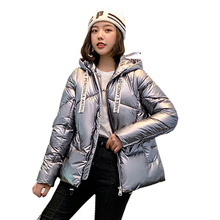 Bright face down cotton womens short bread service 2019 new winter chic coat women