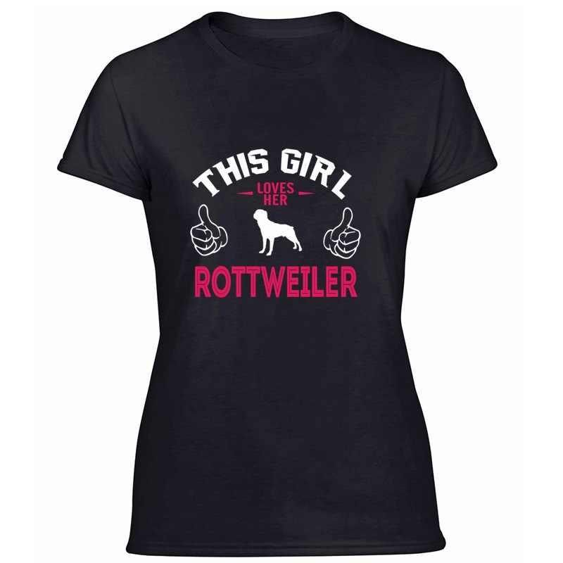 Stampa Rottweiler-Rottweiler-Questa Ragazza Il Suo Amore Marciume Maglietta Degli Uomini Mens Carino T Camicette Rotonda Collare Gents