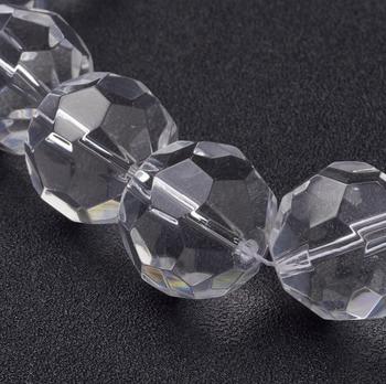 1 Strand 6mm 8mm 10mm 12mm 20mm claro facetado perlas de vidrio para fabricación de joyería DIY collar de pulsera