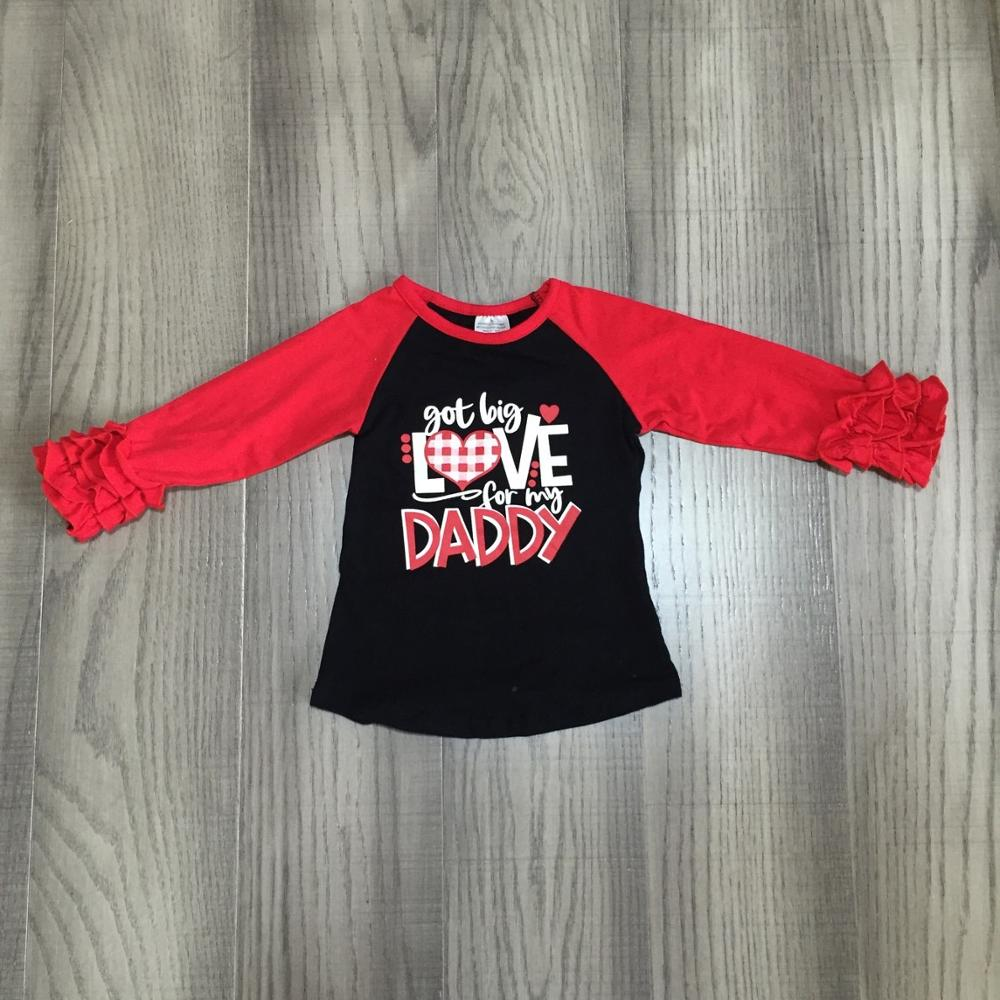 spring Valentines Day baby girls red love heart shapelove for my daddy cotton boutique long topT-shirt reglans childen clothes