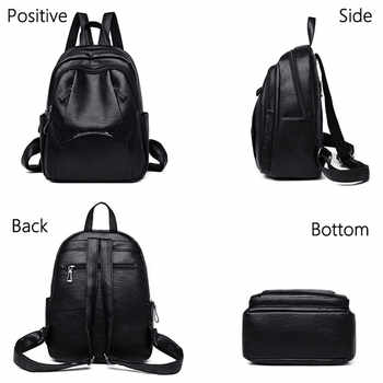Fashion Simple Backpack Female High Quality Soft Leather School Bags for Girls Luxury Brand Shoulder Bags for Women 2019 Mochila