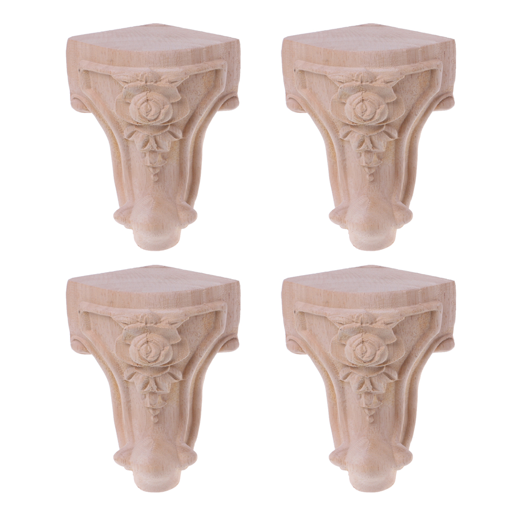 Wooden Furniture Legs Solid Wood Flower Carved TV Cabinet Seat Feet No Painting Drop Ship Support