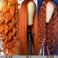 Парики Wigleader из натуральных человеческих волос с предварительно выщипанными волосами, передние парики из имбирного оранжевого 13x6 на сетке, ...