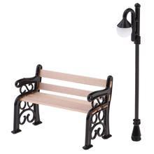 Wooden Park Bench & Street Lamp For Dollhouse Garden Furniture Miniature Decor Toy