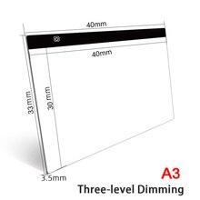 Almohadilla de luz Led regulable de tres niveles, tamaño A4/A5, protección ocular para tableta, fácil para pintura de diamantes, accesorios de herramientas de bordado