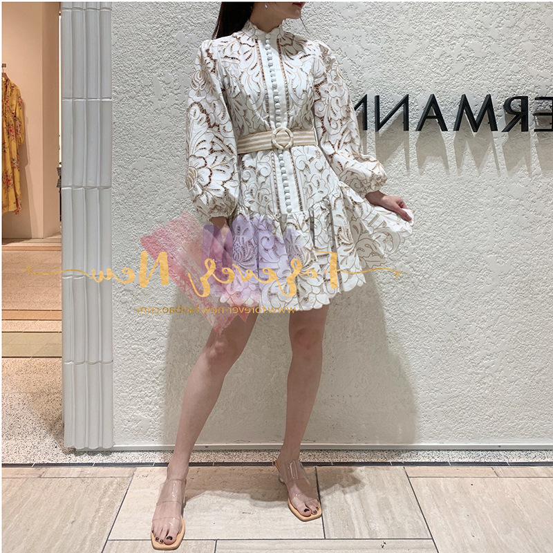 DEAT 2020 Short Stand Collar Lantern Sleeves Lace Embroidery High Waist Mini Sexy Single Breasted Vacation Dress PD85312S